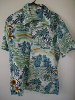 Vintage 60s Royal Islander Tropical Hawaiian Aloha Polyester Short Sleeve Shirt