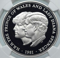 1981 GREAT BRITAIN Wedding PRINCESS DIANA SPENCER Proof SILVER Coin NGC i85453