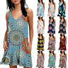 Womens Floral Printed Tank Loose Vest Swing Dress Sleeveless Casual Plus Size