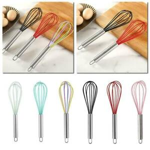 Egg Whisks Steel Handles Silicone Coated Kitchen Utensil Baking A4H9