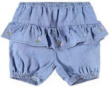 Name it Baby Mädchen Shorts Gr. 56-86 kurze Hose mit Rüschen NBFABIANA aus Denim