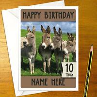 DONKEY Personalised Birthday Card - animal cute donkeys boy girl happy