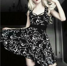 2019 Women Street Fashion Gothic Style Punk Black  Retro Moon Sleeveless Dress