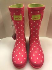 Joules Wellies Girls 6 US 4 UK Rain Boots Waterproof Rubber Pink Polka Dots