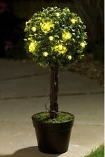 New 2 X Light Up Potted Bay Ball Tree Garden Ornament Warm White  Lights