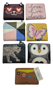 1 NEW FOSSIL Wallet Cat Penguin Butterfly Love Cheetah Studs Card Case RFID