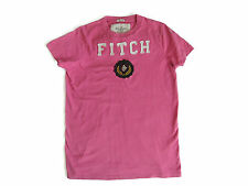 Genuine Abercrombie and Fitch A&F Pink with White lettering Mens T-Shirt Small