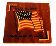 Small Vintage Old Glory Us Flag Folk Art Wooden Plaque