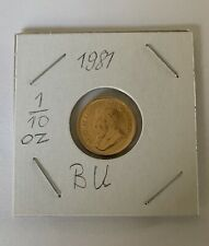 South Africa - 1981- 1/10 oz. Gold Krugerrand Coin - Bullion Uncirculated