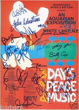 WOODSTOCK Signed Window Poster - Rock / Pop Band Festival - preprint