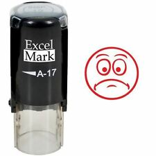 NEW ExcelMark FROWN FACE 3 Round Self Inking Teacher Stamp A17 | Red Ink