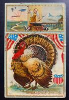 1909 Atlantic City NJ USA Thanksgiving Greetings Postcard Cover To Greenwich