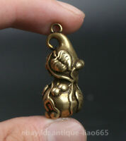29MM Collect Curio Chinese Bronze Exquisite Insect Golden Cicada Pendant Statue