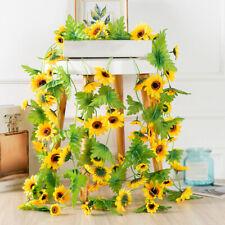 Artificial Plant Decorative Fall Door Sunflower Garland Fake Flowers Silk Vine