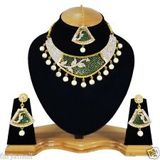 Bollywood Indian Gold Plated Kundan Pearl Style Necklace Set Jewelry Earrings