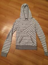 Hurley Women's Sweater Gray & White Striped Hooded Size L fits like a S or M