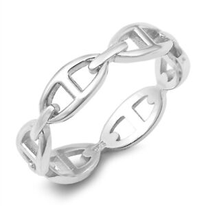 925 Sterling Silver Chaine D'Ancre Anchor Chain Style Stacking Band Ring