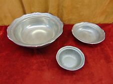 3 LOT Vintage WILTON ARMETALE French Country PEWTER BOWLS Different Dizes MARKED