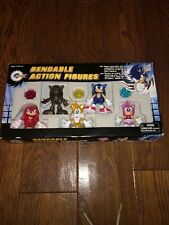"""NEW Sonic X 3"""" Sonic the Hedgehog Tails Knuckles Amy Bendable Figure Set 90s?"""