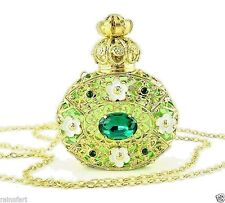 Perfume Bottle Gold Tone Filigree Vintage Green Faceted Crystal Necklace