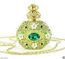 Perfume Bottle Gold Tone Filigree Vintage Green Faceted Crystal Necklace