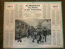"""1917 - CALENDRIER, ALMANACH DES POSTES PTT """"ARRIVÉE DES PERMISSIONNAIRES"""""""
