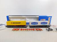 CK432-0,5# Roco H0/DC 1901 Huckepack-Wippenwagen DB NEM: Dunlop+Danone, NEUW+OVP