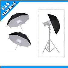 "2 X Photo Studio Lighting Umbrella Softbox 84cm/33"" Black & Silver Reflective"
