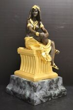 D H Chiparus Bronze Statue on Marble Base Egyptian Woman Seated - Gold Highlight