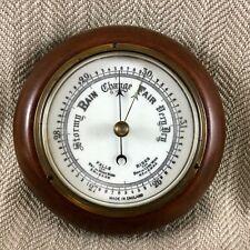 Vintage Barometer Wood & Brass Wall Plaque Weather Station