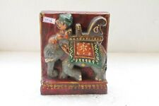 Old Hand Carved Fine Painted Wooden Man Riding Elephant Figure Wall Block NH5036
