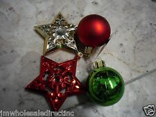 NEW Holiday ! Christmas Decoration Red  4pk Stars and Balls Ornaments