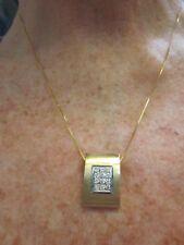 ARTISAN HANDMADE 14K YELLOW & WHITE GOLD 6.9g Omega DIAMOND Pendant & NECKLACE