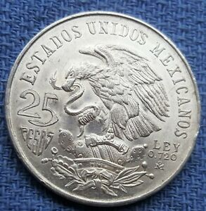 1968 MEXICO (ID 5) 25 PESOS WITH 0.720 SILVER CONTENT FOR OLYMPIC GAMES SO NICE