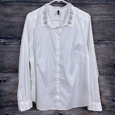 NYDJ Size XL White Blouse Fit Solution Embellished Collar Poplin Shirt Jeweled