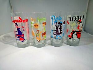 "Josh Agle (SHAG) ""International Scooters"" Cocktail Set of 4 Glasses"