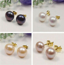 7-12MM 14K Gold Plated Real Freshwater White Pearl Stud Earring AAA+++ New
