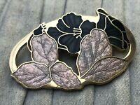 Cloisonne Enamel Brooch Gold Tone Floral Flower Pin Vintage Costume Jewellery