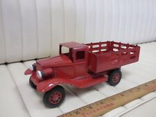 1930s GIRARD Stake Truck Pressed Steel Toy w/ Lights 10""