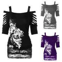 Plus Size Women Off Shoulder Punk Gothic Shirt Casual Ripped Blouse Tank Tops