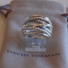 David Yurman Wide CrossOver Sterling Silver Cable Band Ring Size 6 & Pouch