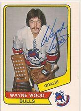 Wayne Wood Signed 1976-77 O Pee Chee WHA Card