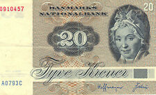 DANISH 20 KRONER - 1972 Issue - Collectible