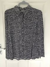 Ladies Black And White Blouse Size 14