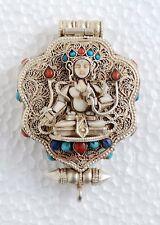 White Tara Ghau Tibetan Shrine Silver Prayer Box Pendant from Patan, Nepal