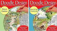 Colouring Books - Doodle Design Flowers and Countryside 2 Book Set - New Books