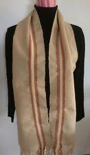 Scarf Hand Woven wool fringe fringed muffler fawn stripe boho artsy 70s retro