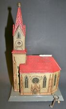 antique early german litho tin church bank with cigar cutter top condition