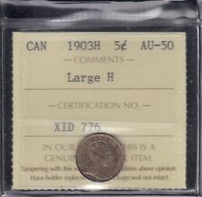 1903H Canada Silver Five Cents - ICCS AU-50 Large H Variety
