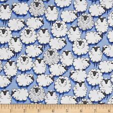 By 1/2 Yd Michael Miller Cotton Fabric ~ Eyes on Ewe Sheepish in Blue sheep